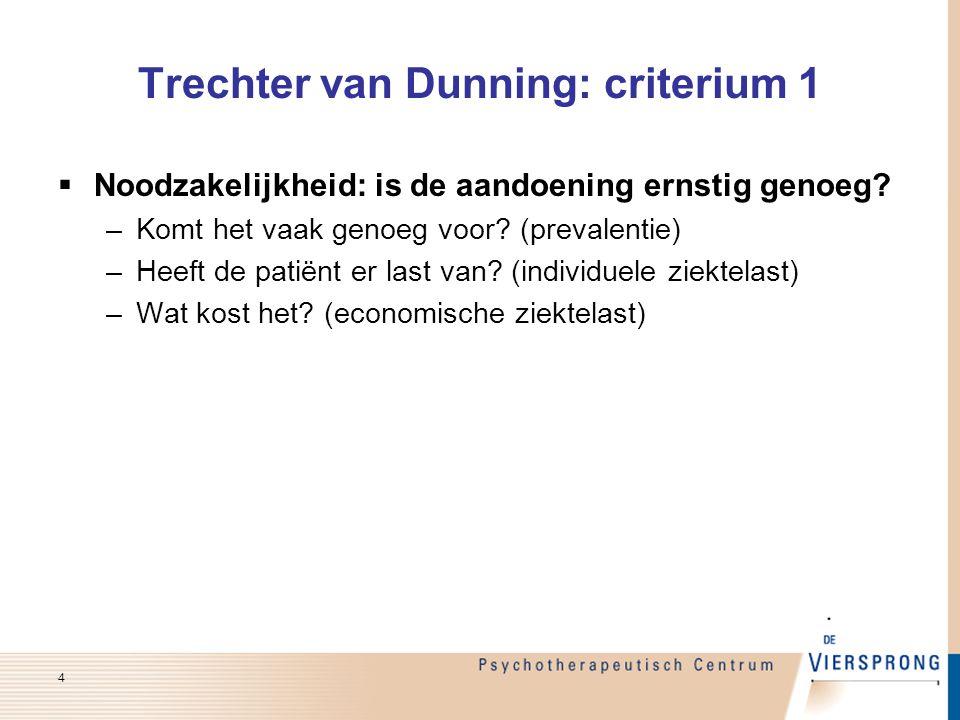 Trechter van Dunning: criterium 1  Noodzakelijkheid: is de aandoening ernstig genoeg? –Komt het vaak genoeg voor? (prevalentie) –Heeft de patiënt er