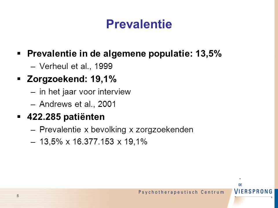 Prevalentie  Prevalentie in de algemene populatie: 13,5% –Verheul et al., 1999  Zorgzoekend: 19,1% –in het jaar voor interview –Andrews et al., 2001