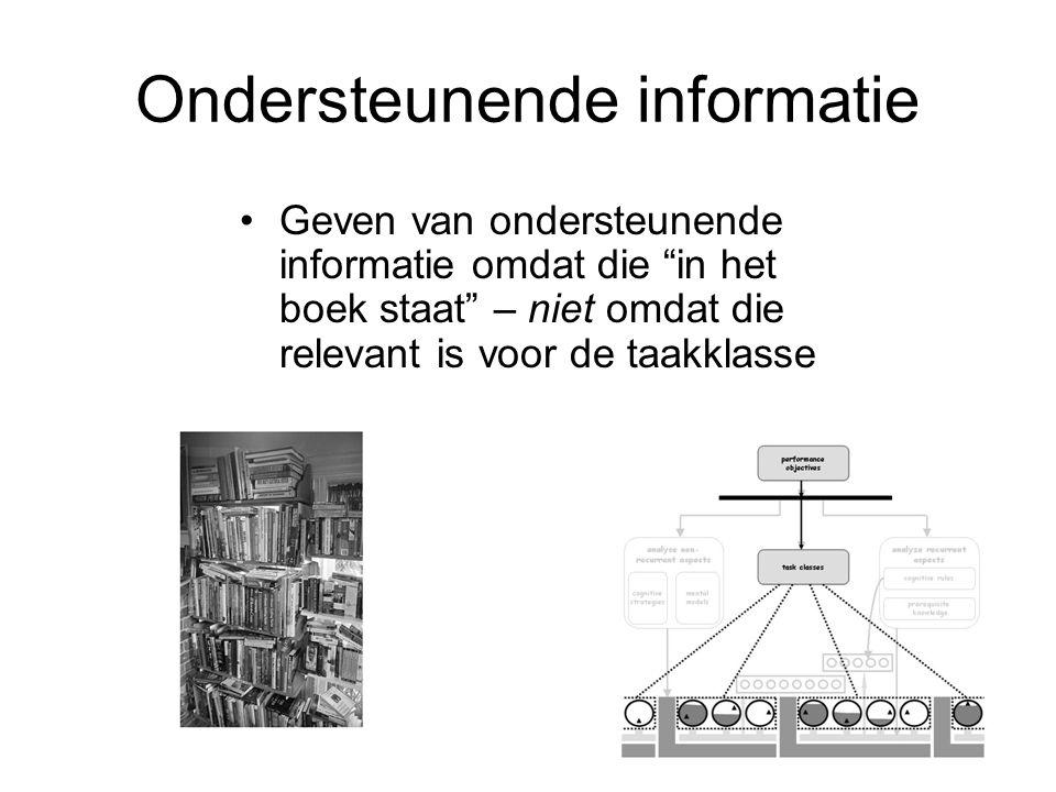 """Geven van ondersteunende informatie omdat die """"in het boek staat"""" – niet omdat die relevant is voor de taakklasse Ondersteunende informatie"""
