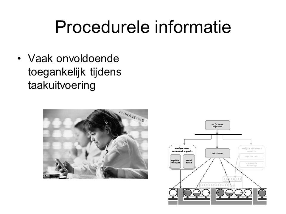 Procedurele informatie Vaak onvoldoende toegankelijk tijdens taakuitvoering
