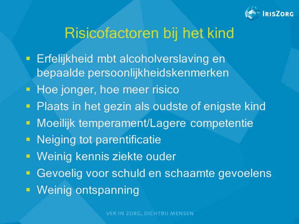 Risicofactoren bij het kind  Erfelijkheid mbt alcoholverslaving en bepaalde persoonlijkheidskenmerken  Hoe jonger, hoe meer risico  Plaats in het g
