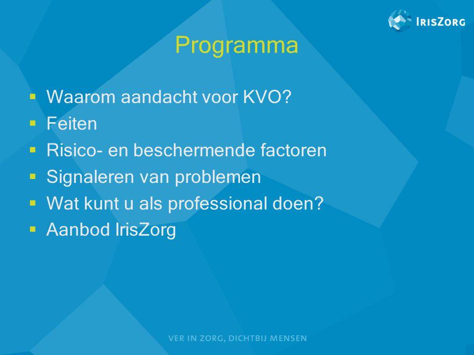 Programma  Waarom aandacht voor KVO?  Feiten  Risico- en beschermende factoren  Signaleren van problemen  Wat kunt u als professional doen?  Aan
