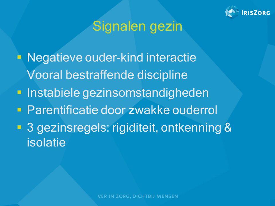 Signalen gezin  Negatieve ouder-kind interactie Vooral bestraffende discipline  Instabiele gezinsomstandigheden  Parentificatie door zwakke ouderro