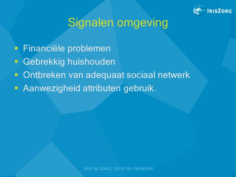 Signalen omgeving  Financiële problemen  Gebrekkig huishouden  Ontbreken van adequaat sociaal netwerk  Aanwezigheid attributen gebruik.