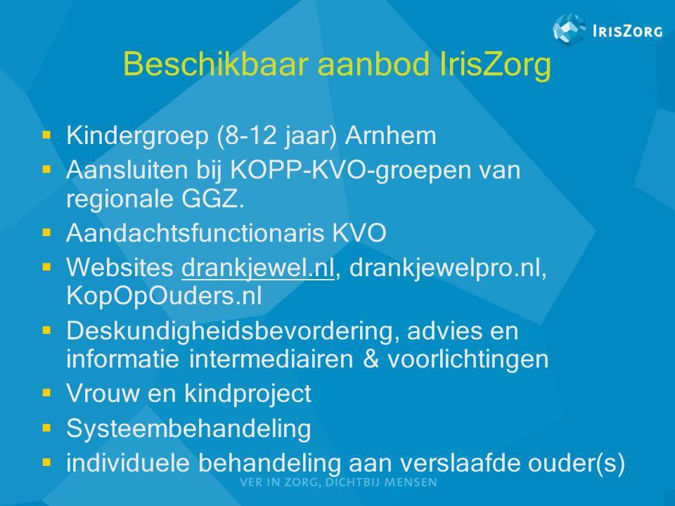 Beschikbaar aanbod IrisZorg  Kindergroep (8-12 jaar) Arnhem  Aansluiten bij KOPP-KVO-groepen van regionale GGZ.  Aandachtsfunctionaris KVO  Websit