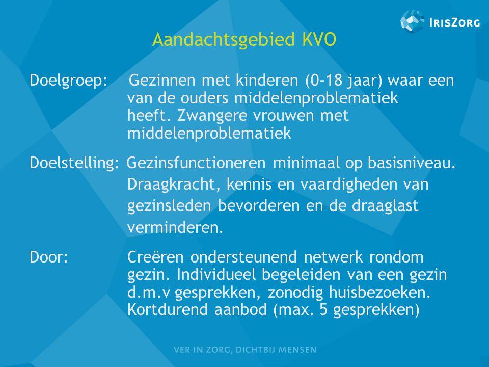 Aandachtsgebied KVO Doelgroep: Gezinnen met kinderen (0-18 jaar) waar een van de ouders middelenproblematiek heeft. Zwangere vrouwen met middelenprobl