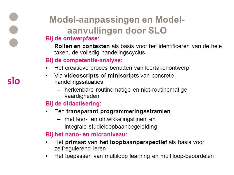 Model-aanpassingen en Model- aanvullingen door SLO Bij de ontwerpfase: Rollen en contexten als basis voor het identificeren van de hele taken, de voll