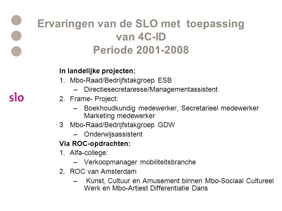 Ervaringen van de SLO met toepassing van 4C-ID Periode 2001-2008 In landelijke projecten: 1.Mbo-Raad/Bedrijfstakgroep ESB –Directiesecretaresse/Manage