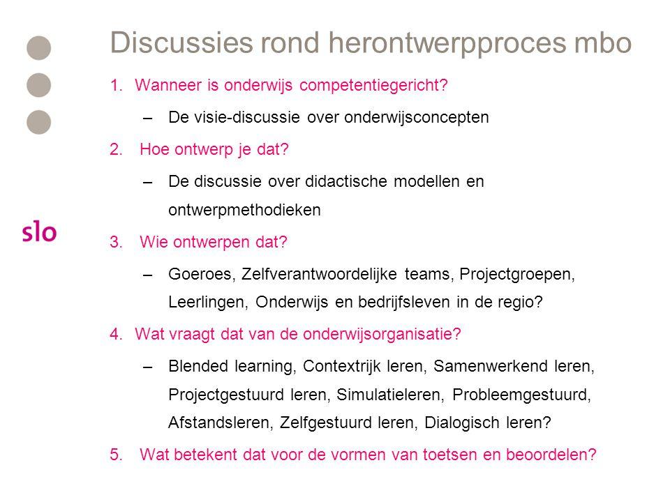 Discussies rond herontwerpproces mbo 1.Wanneer is onderwijs competentiegericht? –De visie-discussie over onderwijsconcepten 2. Hoe ontwerp je dat? –De