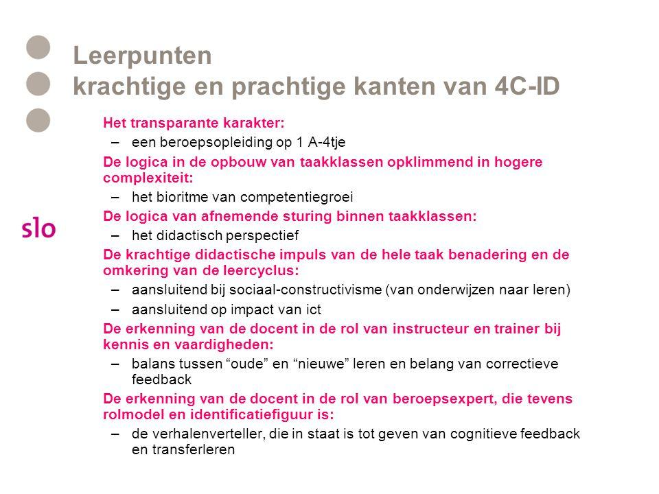 Leerpunten krachtige en prachtige kanten van 4C-ID Het transparante karakter: –een beroepsopleiding op 1 A-4tje De logica in de opbouw van taakklassen