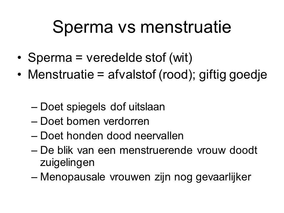 Sperma vs menstruatie Sperma = veredelde stof (wit) Menstruatie = afvalstof (rood); giftig goedje –Doet spiegels dof uitslaan –Doet bomen verdorren –D