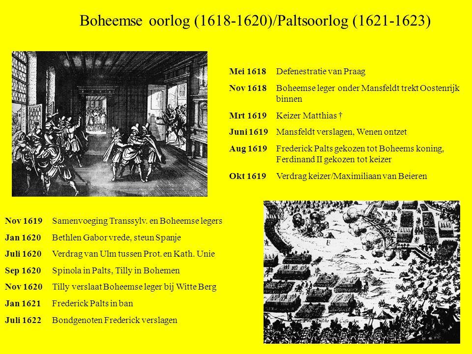 Boheemse oorlog (1618-1620)/Paltsoorlog (1621-1623) Mei 1618 Defenestratie van Praag Nov 1618 Boheemse leger onder Mansfeldt trekt Oostenrijk binnen M