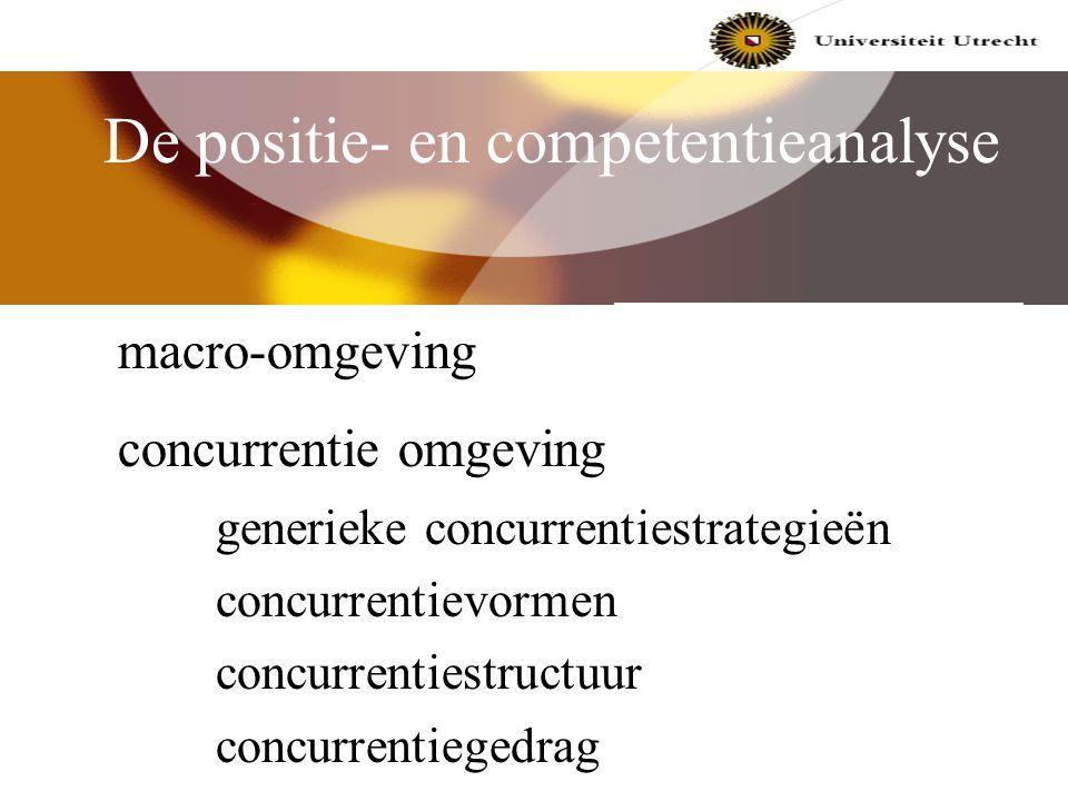 De positie- en competentieanalyse Er worden een drietal kritische competenties onderscheiden: 1. markt-gerelateerde competenties; 2. integriteit-gerel