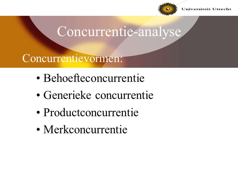 Concurrentie-analyse Generieke concurrentiestrategieën : a. concurreren op laagste kosten b. concurreren op gedifferentieerd product costleadership fo
