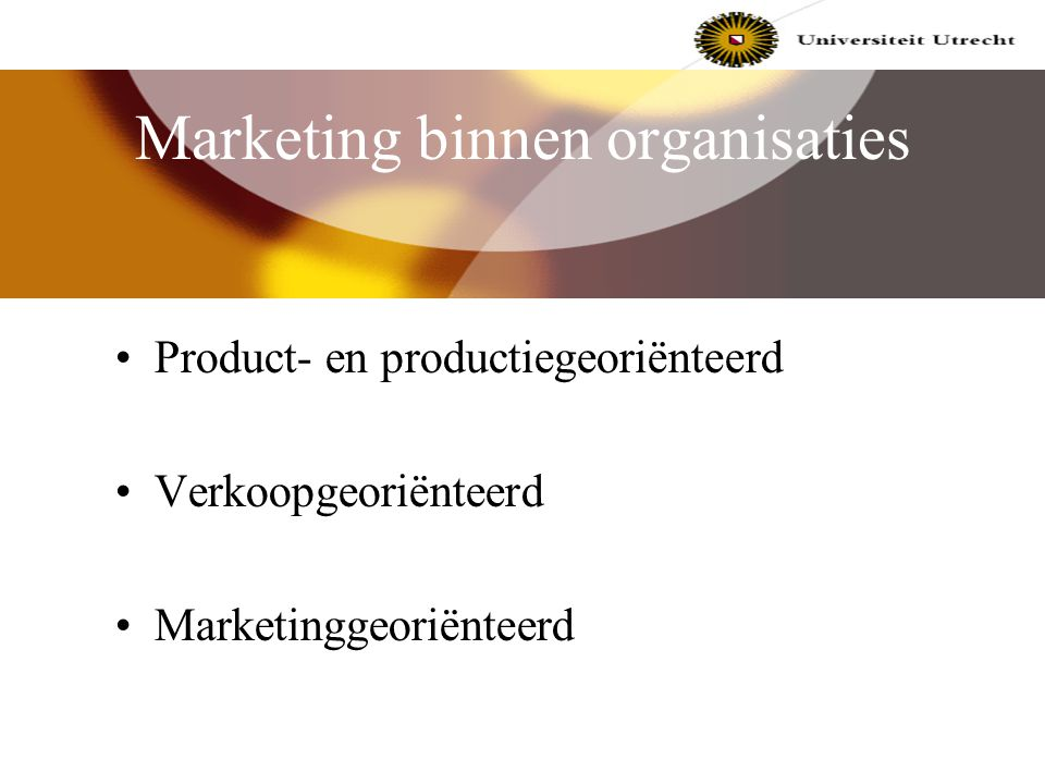 Wat is marketing? Afkomstig van 'to market' = naar de markt brengen definitie: marketing omvat alle activiteiten om ruiltransacties te bevorderen, te