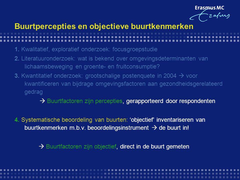 Buurtpercepties en objectieve buurtkenmerken 1. Kwalitatief, exploratief onderzoek: focusgroepstudie 2. Literatuuronderzoek: wat is bekend over omgevi