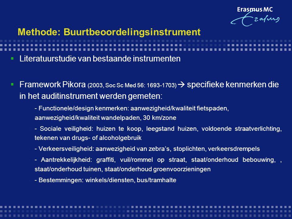 Methode: Buurtbeoordelingsinstrument  Literatuurstudie van bestaande instrumenten  Framework Pikora (2003, Soc Sc Med 56: 1693-1703)  specifieke ke