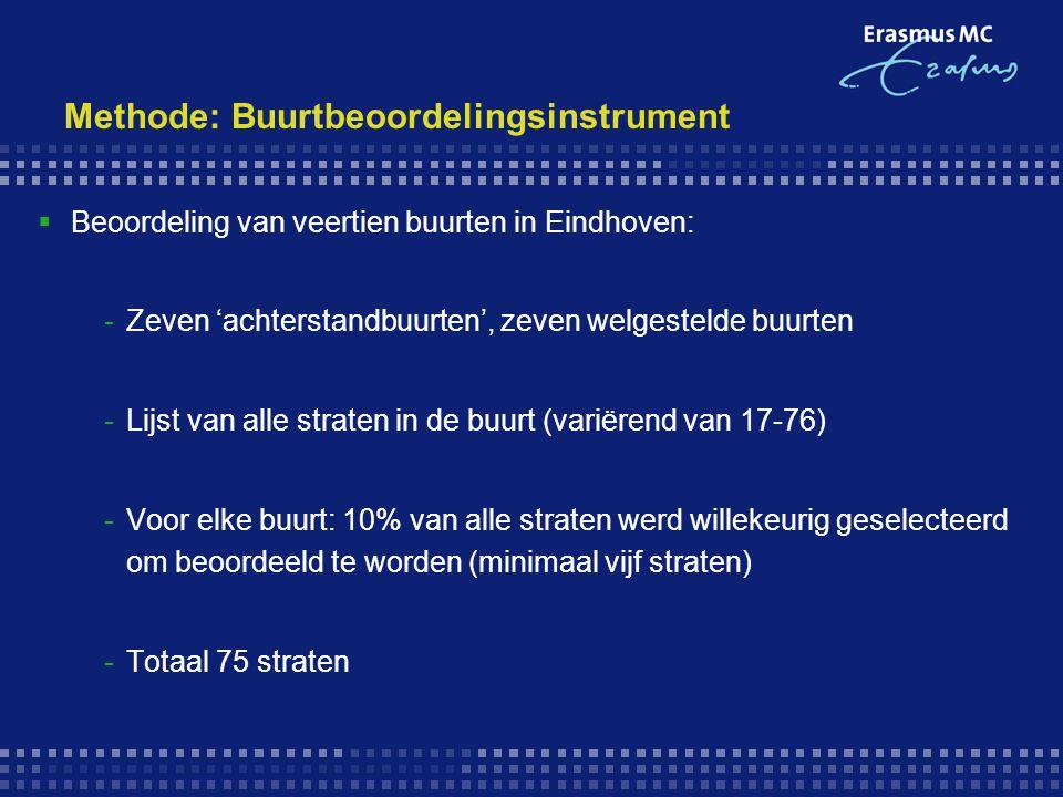 Methode: Buurtbeoordelingsinstrument  Beoordeling van veertien buurten in Eindhoven: -Zeven 'achterstandbuurten', zeven welgestelde buurten -Lijst va