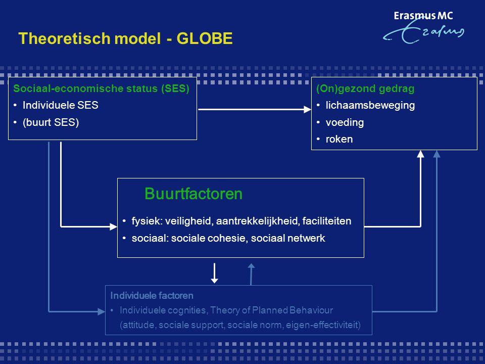 Theoretisch model - GLOBE Buurtfactoren fysiek: veiligheid, aantrekkelijkheid, faciliteiten sociaal: sociale cohesie, sociaal netwerk Sociaal-economis