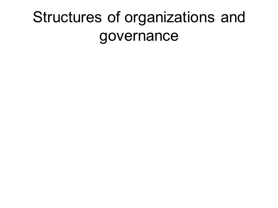 Structures of organizations and governance