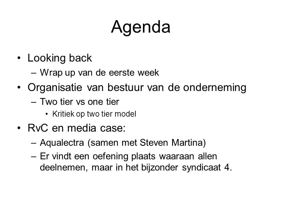 Agenda Looking back –Wrap up van de eerste week Organisatie van bestuur van de onderneming –Two tier vs one tier Kritiek op two tier model RvC en medi