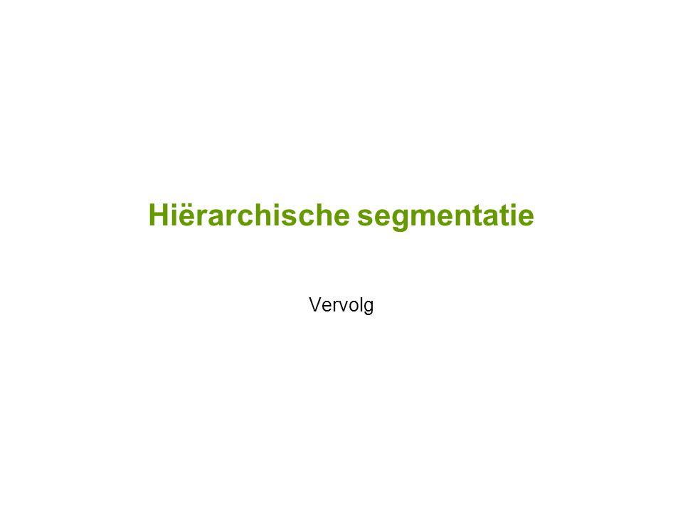 Hiërarchische segmentatie Vervolg