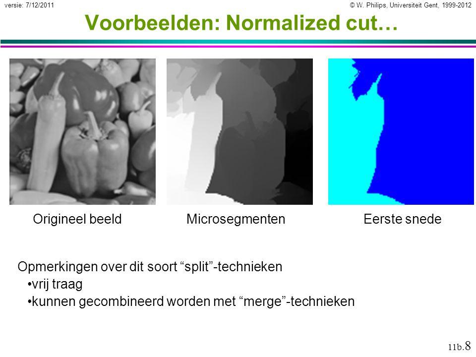 © W. Philips, Universiteit Gent, 1999-2012versie: 7/12/2011 11b. 9 … Voorbeelden: Normalized cut …