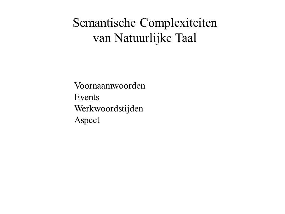 Semantische Complexiteiten van Natuurlijke Taal Voornaamwoorden Events Werkwoordstijden Aspect