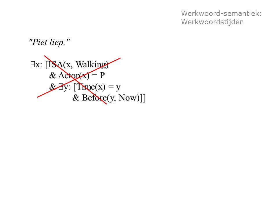 Werkwoord-semantiek: Werkwoordstijden Piet liep.  x: [ISA(x, Walking) & Actor(x) = P &  y: [Time(x) = y & Before(y, Now)]]