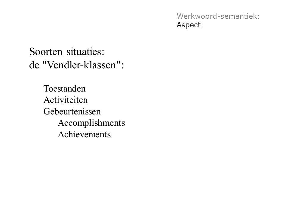 Werkwoord-semantiek: Aspect Soorten situaties: de Vendler-klassen : Toestanden Activiteiten Gebeurtenissen Accomplishments Achievements