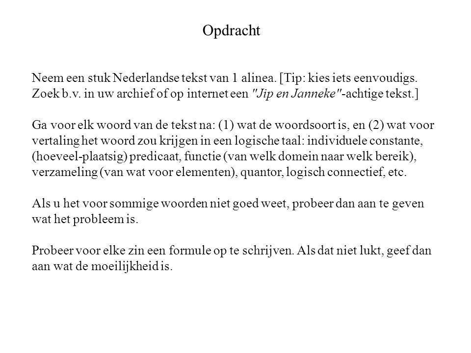 Opdracht Neem een stuk Nederlandse tekst van 1 alinea.