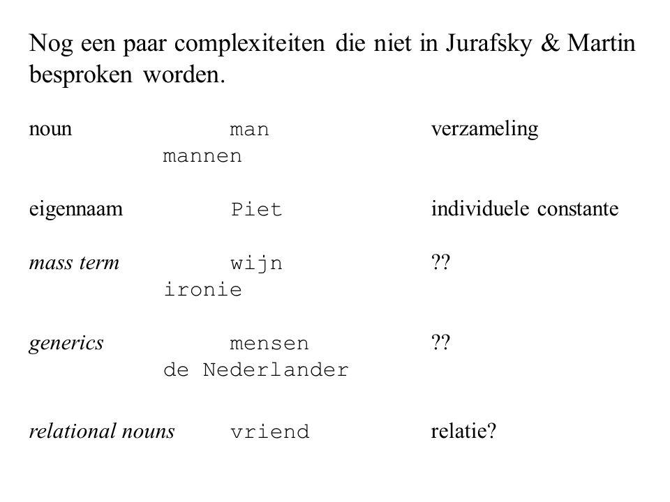 Nog een paar complexiteiten die niet in Jurafsky & Martin besproken worden.