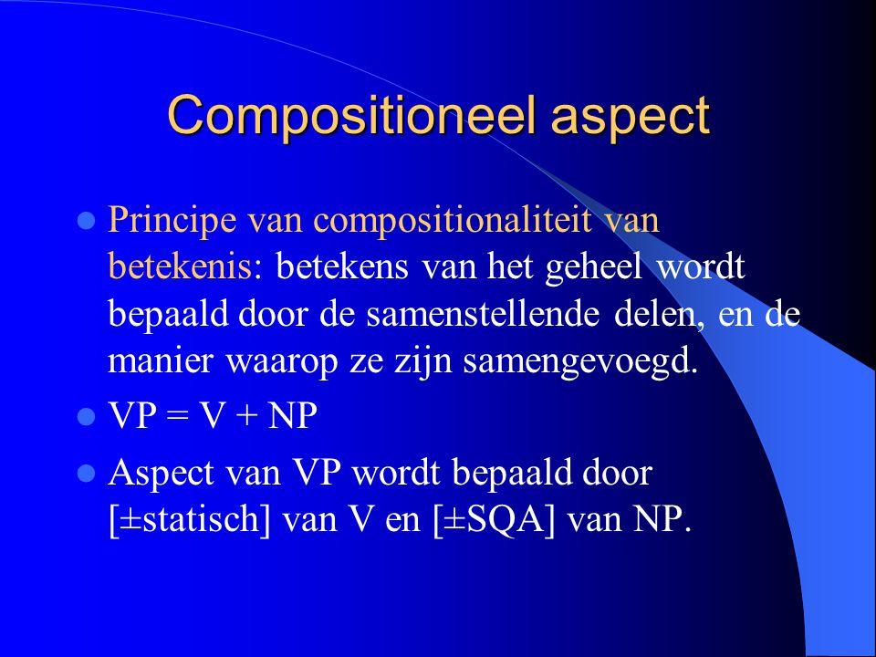 Compositioneel aspect Principe van compositionaliteit van betekenis: betekens van het geheel wordt bepaald door de samenstellende delen, en de manier