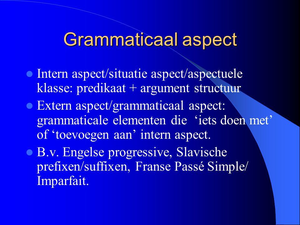 Grammaticaal aspect Intern aspect/situatie aspect/aspectuele klasse: predikaat + argument structuur Extern aspect/grammaticaal aspect: grammaticale el
