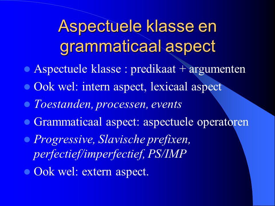 Aspectuele klasse en grammaticaal aspect Aspectuele klasse : predikaat + argumenten Ook wel: intern aspect, lexicaal aspect Toestanden, processen, eve