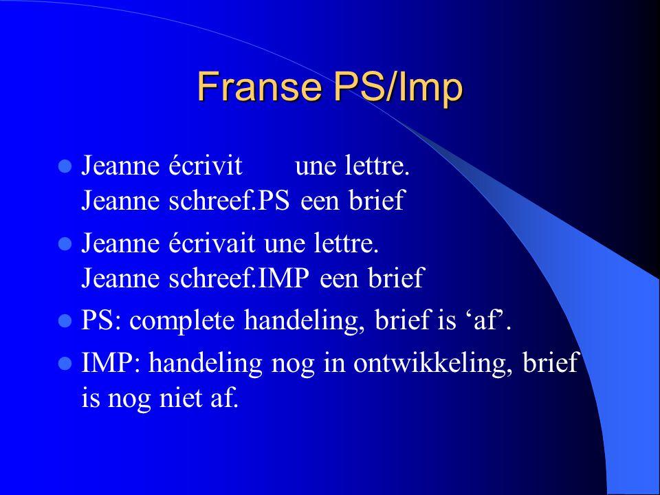 Franse PS/Imp Jeanne écrivit une lettre. Jeanne schreef.PS een brief Jeanne écrivait une lettre. Jeanne schreef.IMP een brief PS: complete handeling,