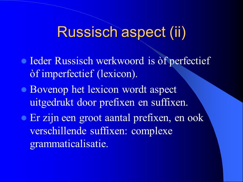 Russisch aspect (ii) Ieder Russisch werkwoord is òf perfectief òf imperfectief (lexicon). Bovenop het lexicon wordt aspect uitgedrukt door prefixen en