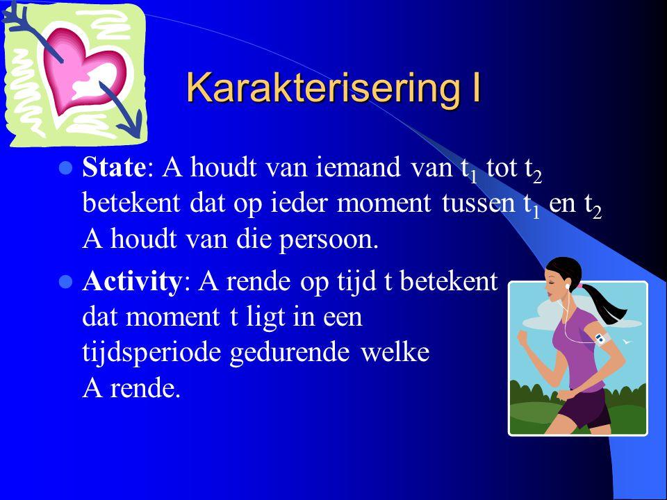 Karakterisering I State: A houdt van iemand van t 1 tot t 2 betekent dat op ieder moment tussen t 1 en t 2 A houdt van die persoon. Activity: A rende