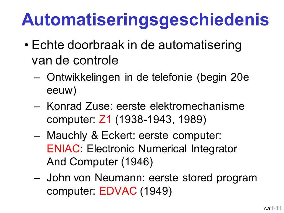ca1-11 Automatiseringsgeschiedenis Echte doorbraak in de automatisering van de controle –Ontwikkelingen in de telefonie (begin 20e eeuw) –Konrad Zuse: eerste elektromechanisme computer: Z1 (1938-1943, 1989) –Mauchly & Eckert: eerste computer: ENIAC: Electronic Numerical Integrator And Computer (1946) –John von Neumann: eerste stored program computer: EDVAC (1949)