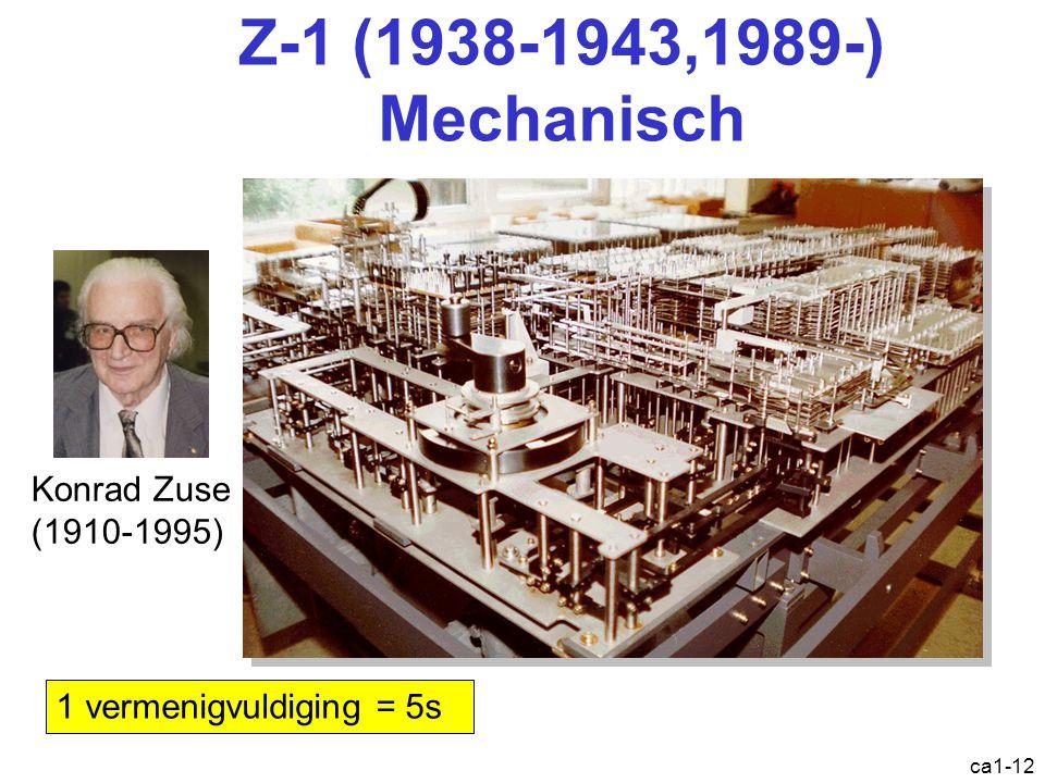 ca1-12 Z-1 (1938-1943,1989-) Mechanisch Konrad Zuse (1910-1995) 1 vermenigvuldiging = 5s