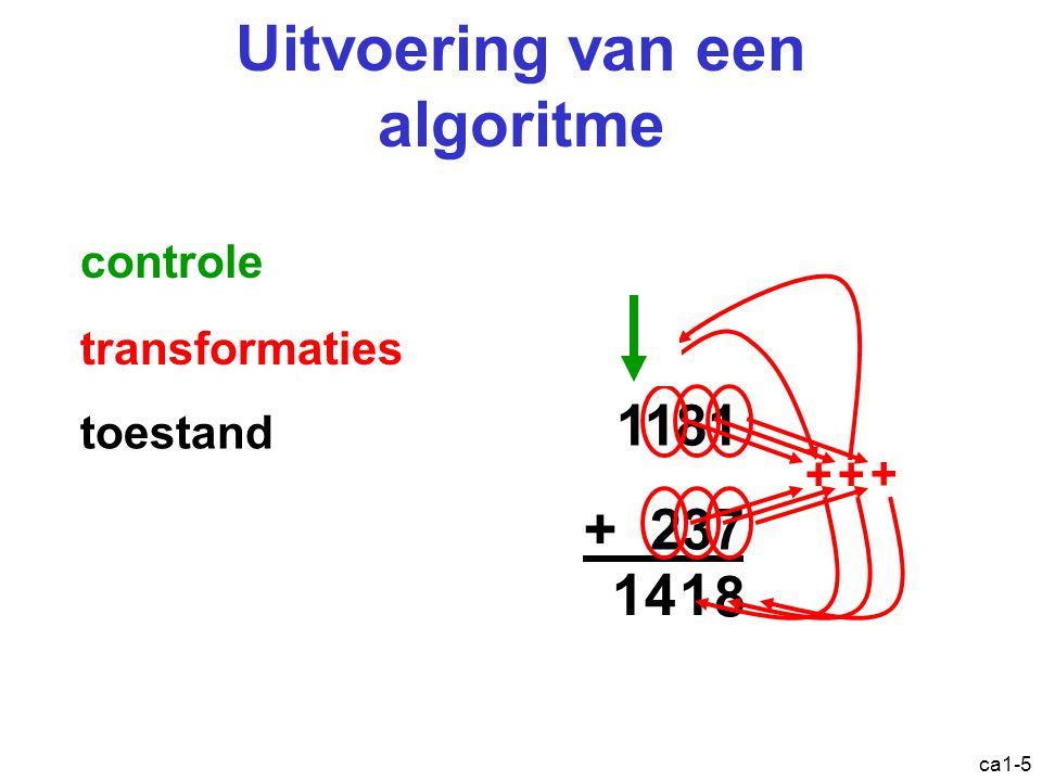 ca1-26 Overzicht Een beetje geschiedenis Het von Neumann model –Logisch zicht –Fysiek zicht Abstractieniveaus in computersystemen Architectuur vs.