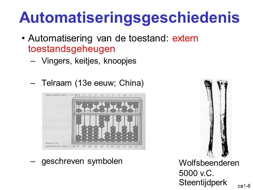 ca1-6 Automatiseringsgeschiedenis Automatisering van de toestand: extern toestandsgeheugen –Vingers, keitjes, knoopjes –Telraam (13e eeuw; China) –geschreven symbolen Wolfsbeenderen 5000 v.C.
