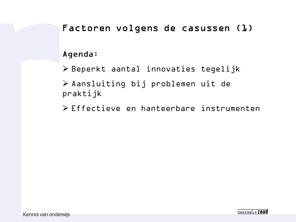 Congres congresnaam Naam medewerk(st)er Functie medewerk(st)er Factoren volgens de casussen (1) Agenda:  Beperkt aantal innovaties tegelijk  Aanslui