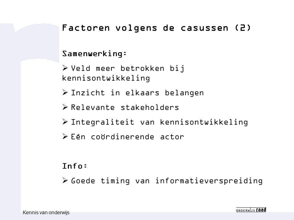 Congres congresnaam Naam medewerk(st)er Functie medewerk(st)er Factoren volgens de casussen (2) Samenwerking:  Veld meer betrokken bij kennisontwikke