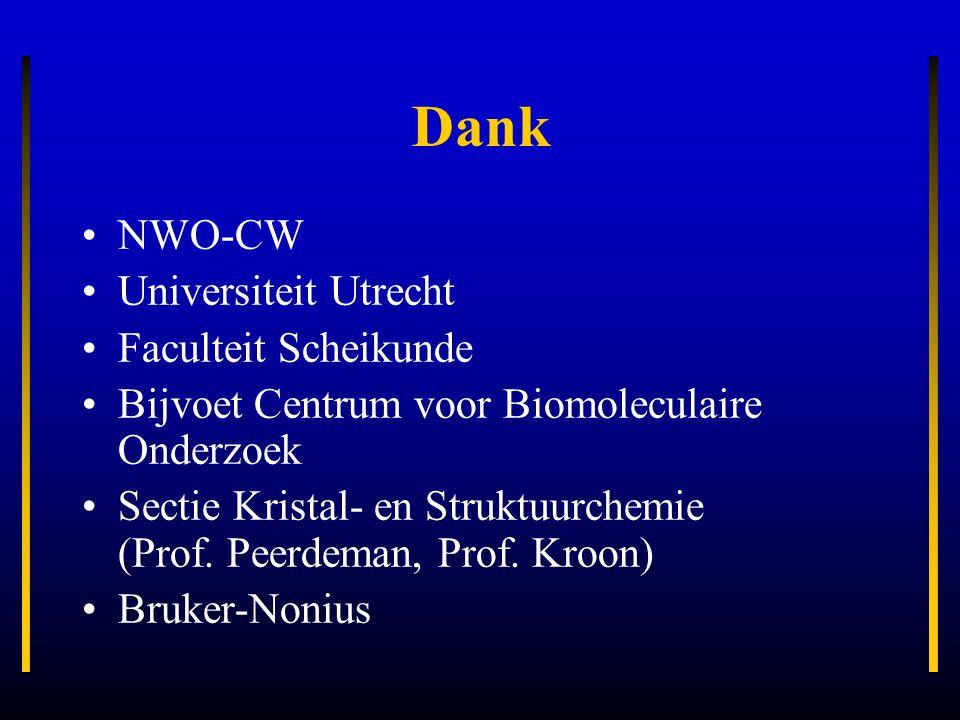 Dank NWO-CW Universiteit Utrecht Faculteit Scheikunde Bijvoet Centrum voor Biomoleculaire Onderzoek Sectie Kristal- en Struktuurchemie (Prof. Peerdema