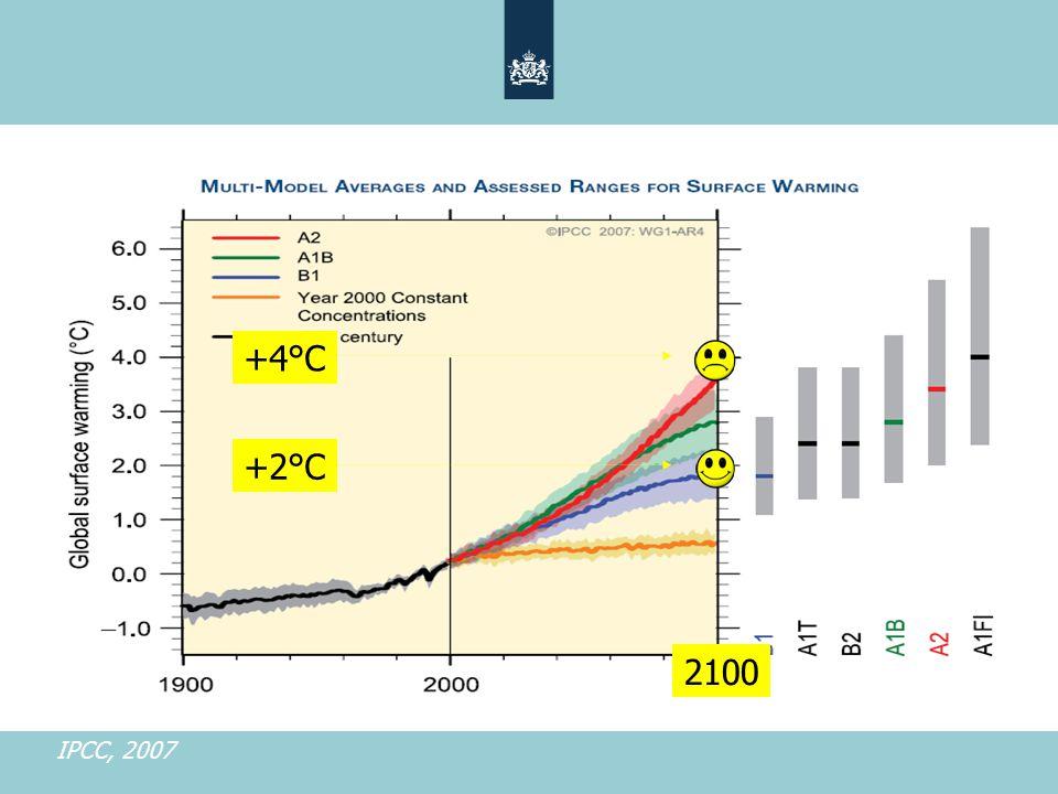 +4°C +2°C 2100 IPCC, 2007