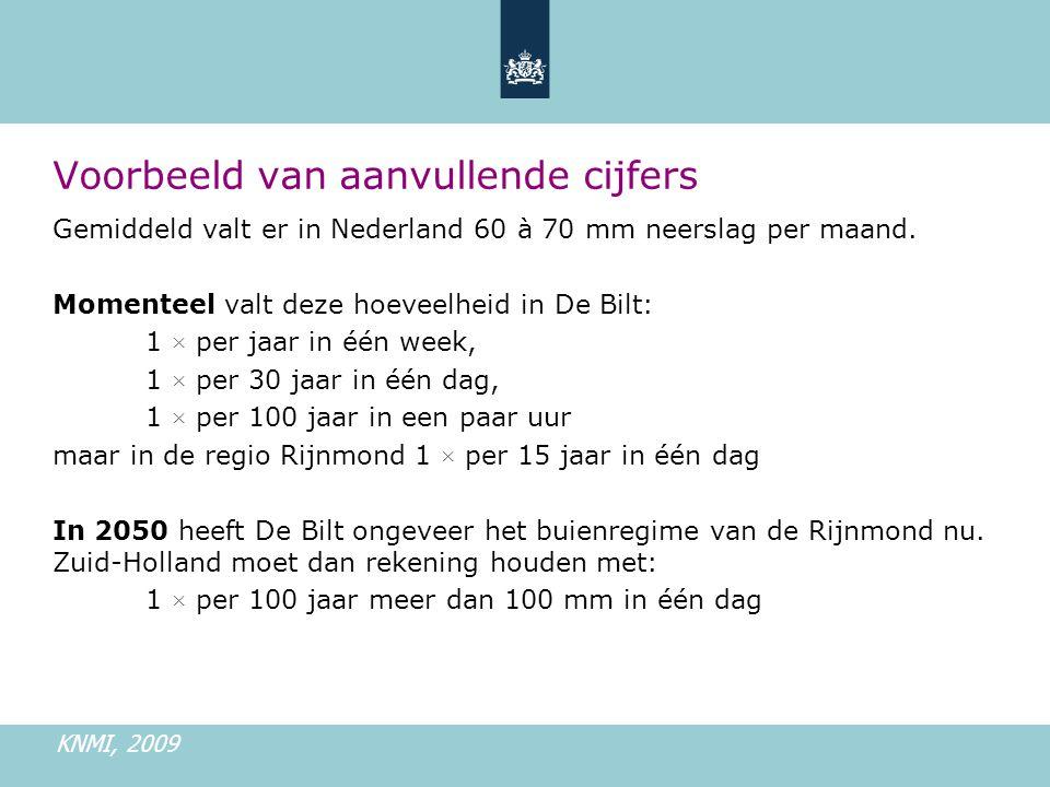 Voorbeeld van aanvullende cijfers KNMI, 2009 Gemiddeld valt er in Nederland 60 à 70 mm neerslag per maand.