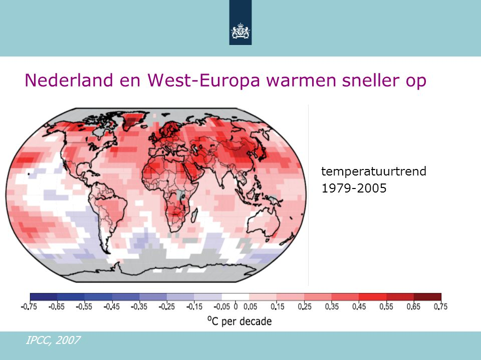 Nederland en West-Europa warmen sneller op temperatuurtrend 1979-2005 IPCC, 2007