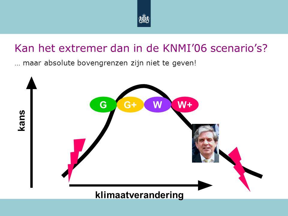 Kan het extremer dan in de KNMI'06 scenario's. … maar absolute bovengrenzen zijn niet te geven.