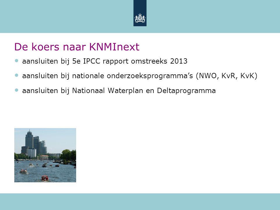 aansluiten bij 5e IPCC rapport omstreeks 2013 aansluiten bij nationale onderzoeksprogramma's (NWO, KvR, KvK) aansluiten bij Nationaal Waterplan en Deltaprogramma